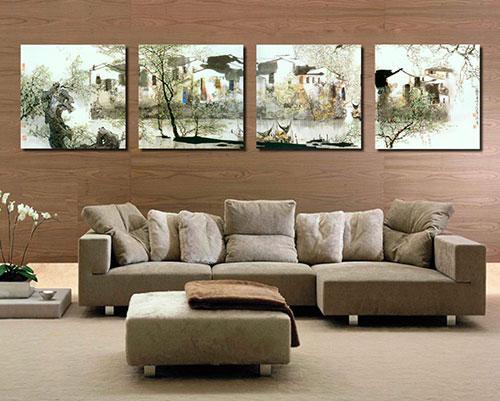 модульные картины для зала в интерьере фото