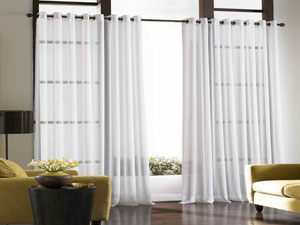 Coral sheer curtain panels