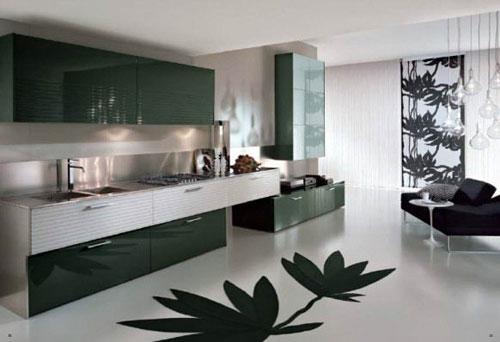 Дизайн кухни чёрно-белый