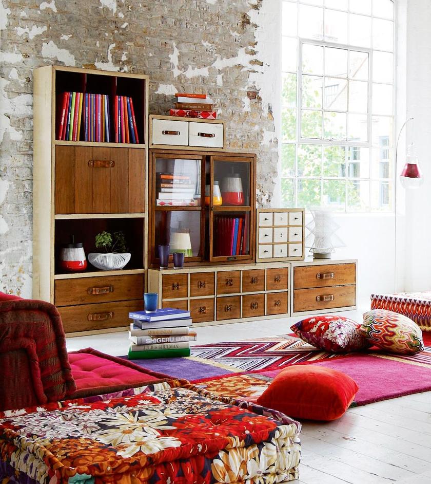 Интерьер в стиле бохо в помещении типа лофт