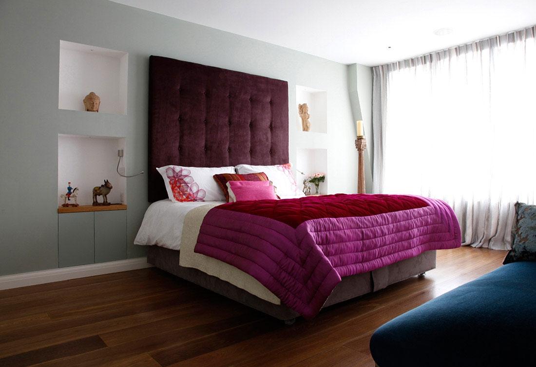 Использование текстиля в спальне в стиле контемпорари