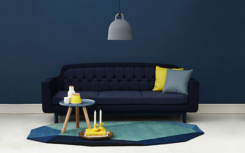 Blue accents for living room